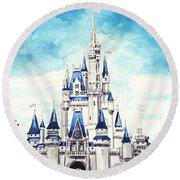 Cinderella's Castle Round Beach Towel