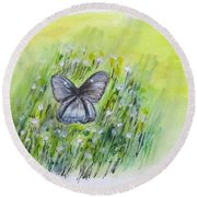 Cindy's Butterfly Round Beach Towel by Clyde J Kell