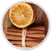 Cinnamon And Orange Round Beach Towel