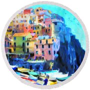 Round Beach Towel featuring the painting Cinque Terre by Chris Armytage