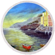 Round Beach Towel featuring the painting Cinque Terre Dreams by Larry Cirigliano