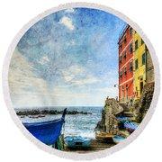 Cinque Terre - Little Port Of Riomaggiore - Vintage Version Round Beach Towel