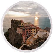 Cinque Terre Tranquility Round Beach Towel