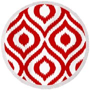 Circle And Oval Ikat In White T02-p0100 Round Beach Towel
