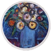 Circle Of Flowers Round Beach Towel