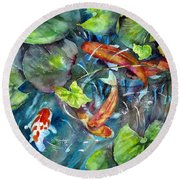 Circle Of Koi Round Beach Towel by Mary McCullah