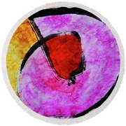 Round Beach Towel featuring the painting Circle Of Life by Joan Reese