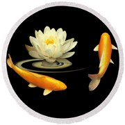 Circle Of Life - Koi Carp With Water Lily Round Beach Towel by Gill Billington