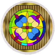 Circle On Bars 3 Round Beach Towel