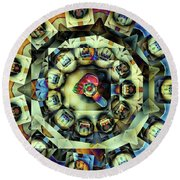 Round Beach Towel featuring the digital art Circled Squares by Ron Bissett