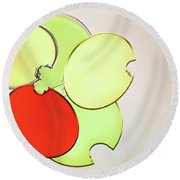Circles Of Red, Yellow And Green Round Beach Towel