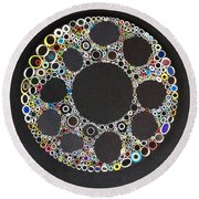 Round Beach Towel featuring the mixed media Circular Convergence Of Mutated Molecules by Douglas Fromm