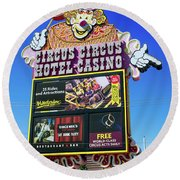 Circus Circus Sign In The Day Round Beach Towel