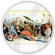 Circus Clowns - Vintage Circus Advertising Poster Round Beach Towel