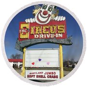 Circus Drive In Sign Round Beach Towel