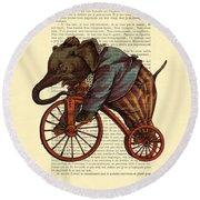 Circus Elephant On Bicycle Round Beach Towel