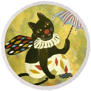 Circus Kitty Clowning Around Round Beach Towel