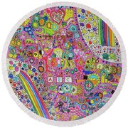 Circus Moon Round Beach Towel