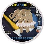 Circus Poster, 1942 Round Beach Towel