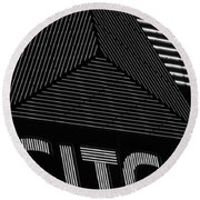 Citgo Sign Closeup Boston Ma Black And White Round Beach Towel