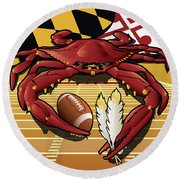 Citizen Crab Redskin, Maryland Crab Celebrating Washington Redskins Football Round Beach Towel