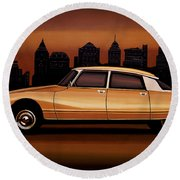 Citroen Ds 1955 Painting Round Beach Towel