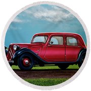 Citroen Traction Avant 1934 Painting Round Beach Towel