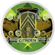 Round Beach Towel featuring the digital art Citroen Traction Avant  by Jean luc Comperat