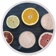 Citrus Smoothies Round Beach Towel