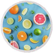 Citrus Summer Round Beach Towel