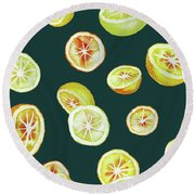 Citrus Round Beach Towel by Varpu Kronholm