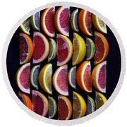 Wavy Citrus Lineage Round Beach Towel