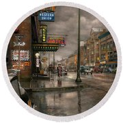 City - Amsterdam Ny -  Call 666 For Taxi 1941 Round Beach Towel