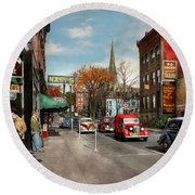 Round Beach Towel featuring the photograph City - Amsterdam Ny - Downtown Amsterdam 1941 by Mike Savad