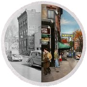 Round Beach Towel featuring the photograph City - Amsterdam Ny - Downtown Amsterdam 1941- Side By Side by Mike Savad