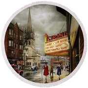 City - Amsterdam Ny - Life Begins 1941 Round Beach Towel