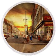 Round Beach Towel featuring the photograph City - Amsterdam Ny - The Lost City 1941 by Mike Savad