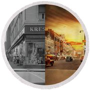 Round Beach Towel featuring the photograph City - Amsterdam Ny - The Lost City 1941 - Side By Side by Mike Savad