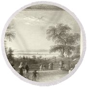 City And Lake Of Constance From The Chateau Wolfsberg Round Beach Towel