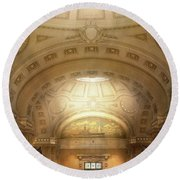 Round Beach Towel featuring the photograph City - Annapolis Md - Bancroft Hall by Mike Savad