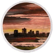 City At Night Round Beach Towel