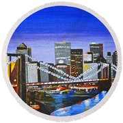 City At Twilight Round Beach Towel