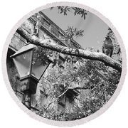 City Bird Black And White Round Beach Towel