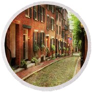 Round Beach Towel featuring the photograph City - Boston Ma - Acorn Street by Mike Savad
