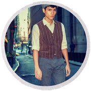 City Boy Round Beach Towel