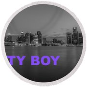 City Boy Purple Round Beach Towel