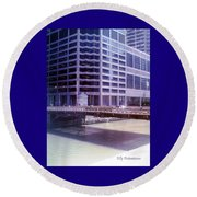 City Bridge Round Beach Towel