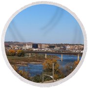 Round Beach Towel featuring the photograph City By The River by Yumi Johnson