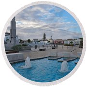 City Center Of Tavira Round Beach Towel