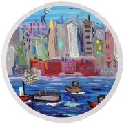 City City City Round Beach Towel